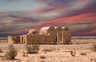 Quseir (Qasr) Amra desert castle near Amman, Jordan. World heritage with famous fresco's. Built in 8th century by the Umayyad caliph Walid II, the castle is one of the most important examples of early Islamic art and architecture