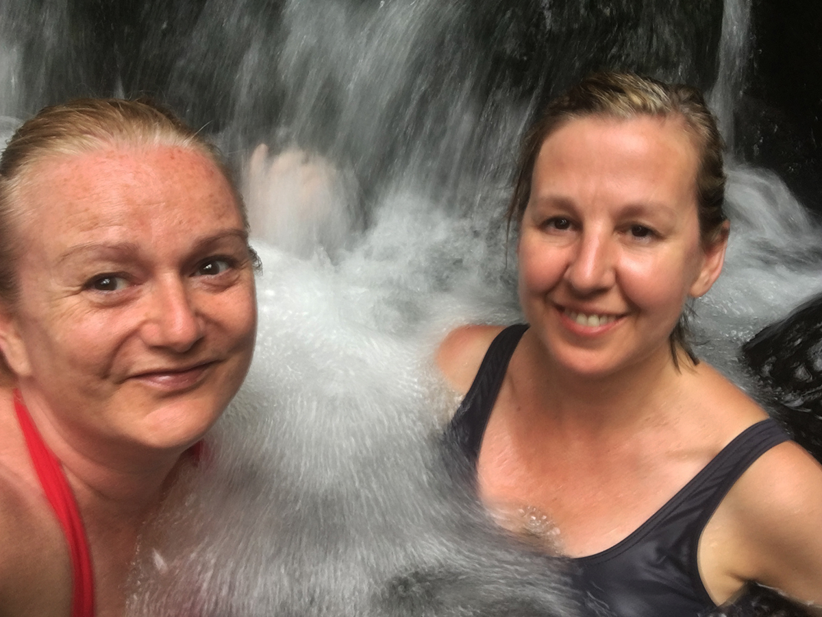 Soaking in the hot springs in Arenal, Costa Rica