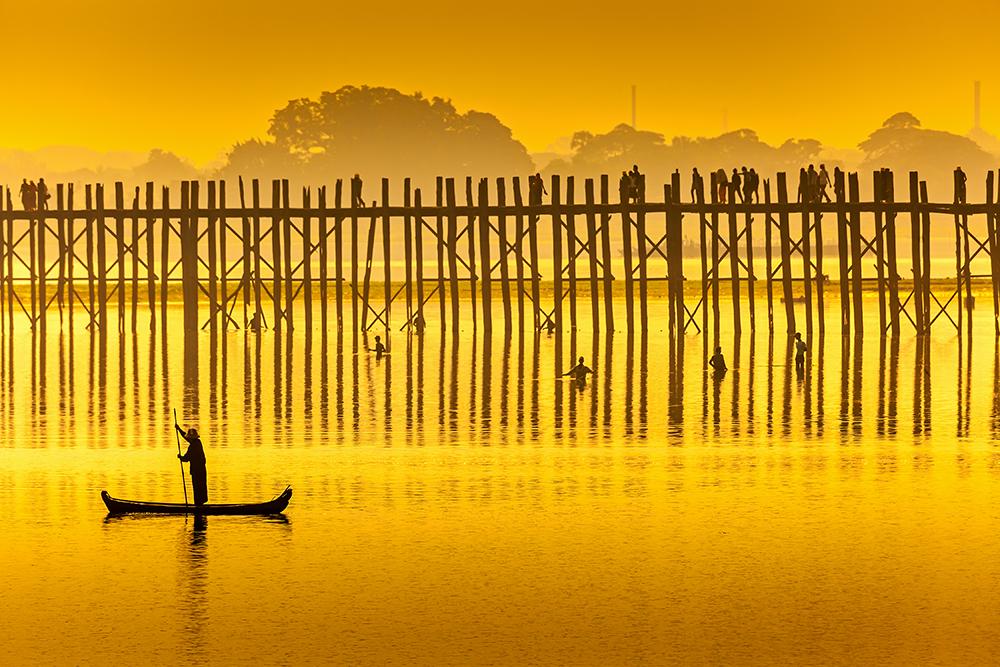 Sunset in U Bein bridge, Myanmar.